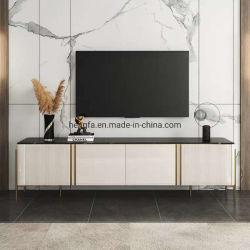 Wohnzimmer Fernsehapparat-Wand-Schrank mit goldenem Aluminum Furniture Bein-Metall-Fernsehapparat-Standplatz