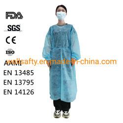 Camici a grembiule monouso ASTM F1670 AAMI livello 2 livello 3 Camice da laboratorio personalizzato bianco Verde Blu 35 GSM 40 grammi Tessere per chemioterapia in pellicola non tessuto in PP PE TPU