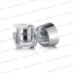 Winpack leeres Luxuxsahneacrylglas 100g mit glänzender silberner Aluminiumschutzkappe