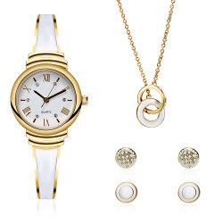 Мода Леди браслет часы и ювелирные украшения подарочный набор