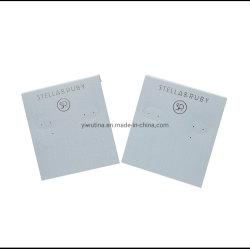 بيضاء بلاستيكيّة مجوهرات حل عرض بطاقة بالجملة مع حارّ رقيقة معدنيّة نوع ذهب علامة تجاريّة