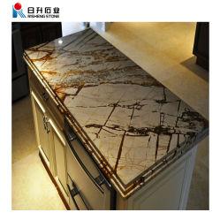 Carrara personalizada Cocina encimera de mármol beige Mesa borde plano