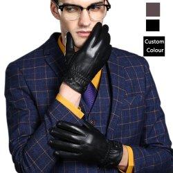 الجملة 5502 الرجال الجلد شتاء قفازات جلد الجلد الحقيقي لمسة في الهواء الطلق قفازات الشاشة الرياضية