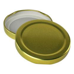 63mm Regular de metal dorado Taco gire la tapa para la jarra de cristal