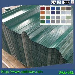 건축재료 색깔에 의하여 입히는 직류 전기를 통한 물결 모양 루핑 금속 강철판
