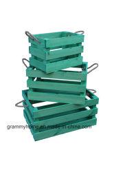 Visualizzazione verde del contenitore di legno di cassa del Apple di stile dell'annata di Pasqua