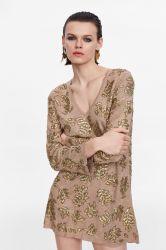 Vestito di seta da modo personalizzato manicotto lungo delle donne V con le pietre