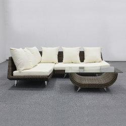 Un patio extérieur pieds en aluminium canapé meubles en rotin