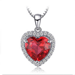 Fashion 925 Sterling Silver bijoux mariage/Engagement Collier pendentif avec Gemstone Ruby