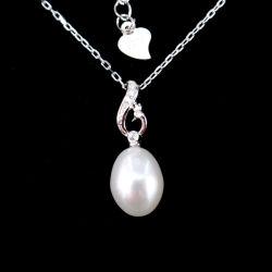 Реальных природных ресурсов пресной воды Pearl Silver родий бриллиантовое ожерелье с золотым покрытием для подарка группа