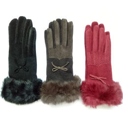 女性の方法性完全な指の革ウールのフェルトの手袋