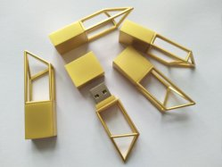 El logotipo de la construcción de la arquitectura de marca láser forma geométrica Stick USB 8 GB 16 GB de oro&plata mate Pendrive