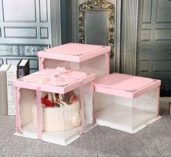 맞춤형 도매 종이 투명 플라스틱 생일 파티 웨딩 케이크 포장 제과점 음식 포장 접이식 광장 컵케이크 모양 핑크 클리어 선물 패키지 상자