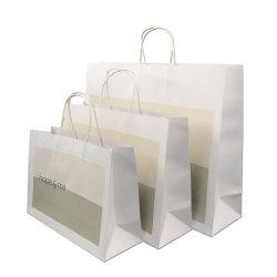 Bolsas de papel kraft blanco natural para el embalaje de regalo elegante apariencia