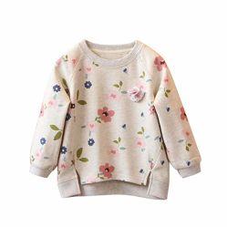 Dikke Sweater van de Winter van de Herfst van de Kinderen van de Kleren van de Bovenkanten van de Blouses van de Koker van de Druk van het Jonge geitje van de Meisjes van de baby de Bloemen Lange Warme 3-7t
