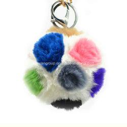 Рождественский подарок Китая реального фо Фокс мех красочный футбол цепочки ключей