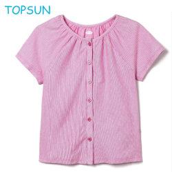여자 아기 순수한 면 둥근 고리 Short-Sleeved t-셔츠 2019 새로운 아이들의 외국 힘찬 블라우스