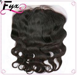 Frontales Spitze-Schliessen der Hersteller-peruanisches Haar-tiefes Wellen-13*6