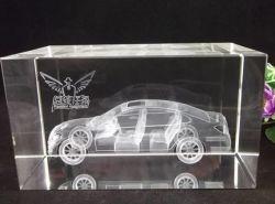 Pujiang 공장 도매 3D Laser 조각 입방체 수정같은 유리는 차 선물 문진을 만든다