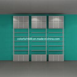 Kundenspezifisches Nome Art MDF-Vorstand-Kettenladen-Zahnstangen-System-Schaukasten-Schrank-kosmetisches Bildschirmanzeige-Regal-Lebensmittelgeschäft-Regal-Einzelhandelsgeschäft-Fach