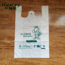 Comercio al por mayor biodegradables de fécula de maíz crudo Material Compostable Camiseta bolsas de embalaje de plástico de polipropileno