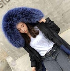 冬の毛皮のコートのライニングが付いている実質の毛皮はさみ金の取り外し可能なオーバーコート