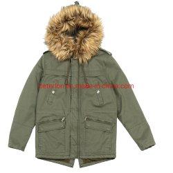 El hombre invierno Faux Fur Twil Algodón Parka chaqueta con repelente al agua