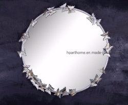 Décoration maison ronde distinctive et unique de l'argent miroir fer papillon