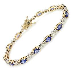 14K en Or Jaune Bracelet avec diamants et pierres précieuses (LBRG1039)