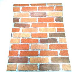 Dunkle gelbe und rote Farben-Ziegelstein-Korn-Tapete selbstklebende Belüftung-Tapete für Wand-Dekoration