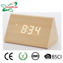 Relógio de Alarme Digital com visor electrónico de madeira levou tempo para a decoração da casa