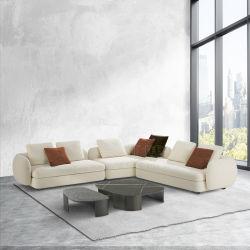 أريكة إيطالية أقمشة عصريةً مع كرسي بذراعك من الجلد غرفة جلوس مريحة في غرفة الجلوس وركنية مخصصة لمجموعات أثاث غرفة المعيشة