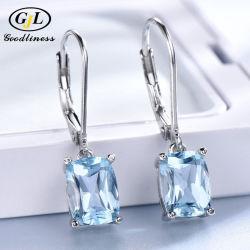 L'oro bianco del Topaz blu ha placcato i monili d'argento del lusso dei 925 orecchini