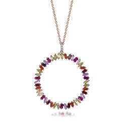 Hochwertige Mode Design Regenbogen Kreis Shine Cubic Zirkonia Silber Halskette Mit Anhänger