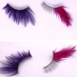 Diseño de Moda mayorista Crazy Party fiesta de Halloween estilo etapa falso ojo latigazos de plumas coloridas pestañas para el reseller