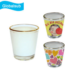 Globalsub personalizzato 1.5oz sublimazione Photo Custom Shot Glass con Bianco Patch tazza orlata