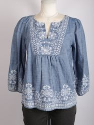 Los bordados de damas Chambray Denim Shirt