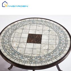 Patio rotondo dell'insieme del grano della mobilia esterna di legno d'imitazione di disegno che pranza la Tabella del giardino