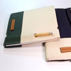 Geel PU-leer notitieboek met rubberen band