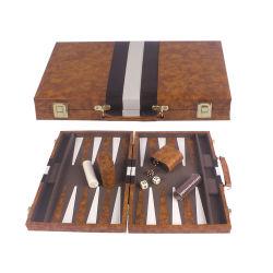 كلاسيكيّة خشبيّة طاولة زهر محدّد [بروون] بيضاء [فوإكس] جلد [بورتبل] سفر يطوي طاولة زهر حالة