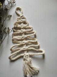 크리스마스 나무 Macrame 훈장 배수는 면 또는 대마 밧줄 수공예를 치수를 잰다