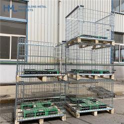 Euro alta qualidade a granel personalizados Warehouse Dobrável Rígida Metal recolhível de malha de gaiola de paletes com palete de madeira