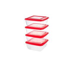4 STUKS set vierkante plastic verpakking voor helder voedsel