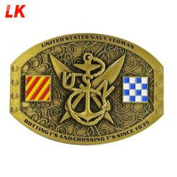 공장 승진 기념품 선물은 형식 주문품 디자인 로고 아연 합금 연약한 사기질 3D 남자 군 금속 벨트 죔쇠 중국을 도매한다