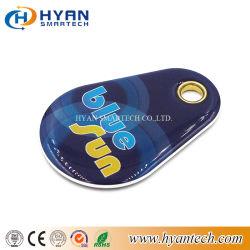 13.56MHz llavero Epoxy+tarjeta de PVC de RFID etiqueta con la llave de metálico ojo