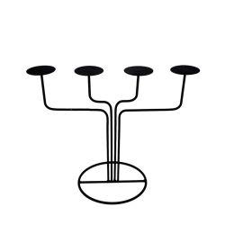 Decorazione del manto del candeliere dei 4 del camino lampadari della candela per il basamento della cera o senza fiamma della colonna delle candele con la decorazione nera del ferro