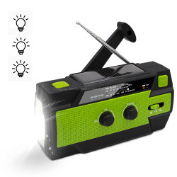 2020 Amazon Manivelle solaire portable imperméable avec Radio météo NOAA d'urgence 4000 mAh Banque d'alimentation et de torche LED ultra-brillant