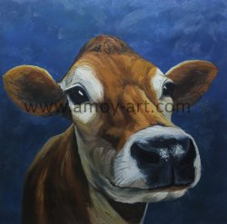 100% de arte na parede de lona artesanais vaca em pinturas a óleo da Artista