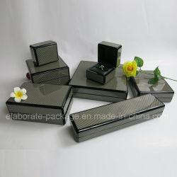 Fibra de carbono negro Paquete de joyas de madera de embalaje Caja de regalo