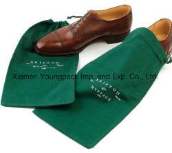 Индивидуальные пользовательские напечатано темно-зеленого цвета из хлопка кулиской мешок для сбора пыли для обуви
